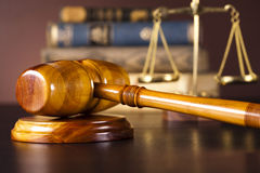 Law and justice concept, wooden gavel Stock Image