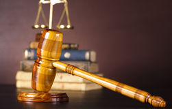 Law and justice concept, wooden gavel Stock Photos
