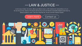 Law and justice design concept with justice icons infographics template design, web header elements, poster banner Stock Photo