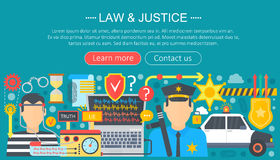 Law and justice design concept with policeman and car infographics template design, web header elements, poster banner Stock Photo