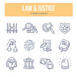 Law & Justice Doodle Icons Royalty Free Stock Photos