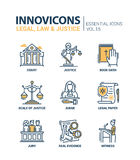 Law and Justice - flat design icons set. Legal, law, justice - modern vector flat line design icons and pictograms set. Court, judge, legal document, book of Royalty Free Stock Photo