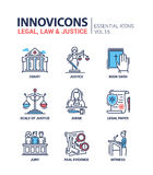 Law and Justice - flat design icons set Stock Images