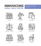 Law and Justice - flat design icons set. Legal, law, justice - modern vector flat line design icons and pictograms set. Court, judge, legal document, book of Royalty Free Stock Photography