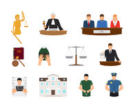 Law and Justice flat icons Stock Photos