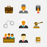 Law and justice flat icons Royalty Free Stock Photography