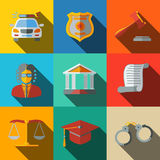 Law, justice flat icons set - scales, hammer Royalty Free Stock Photos