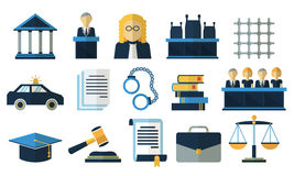 Law and justice flat vector icons Stock Photography