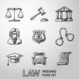 Law, justice freehand icons set. vector Stock Images