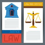 Law and justice horizontal banners in flat design Royalty Free Stock Photography