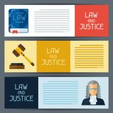 Law and justice horizontal banners in flat design Royalty Free Stock Photos