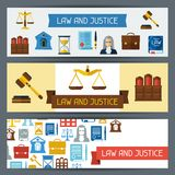 Law and justice horizontal banners in flat design Royalty Free Stock Image