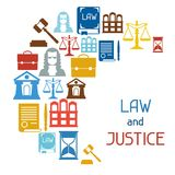 Law and justice icons background in flat design Royalty Free Stock Image