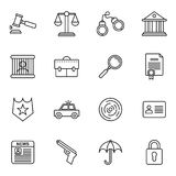 Law and justice icons collections. The legal system, judge, police and lawyer Stock Image