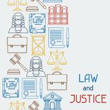 Law and justice icons seamless pattern in flat Stock Photography