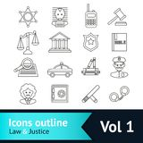 Law and Justice Icons Set Royalty Free Stock Photo