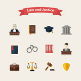 Law and justice icons set Stock Photo