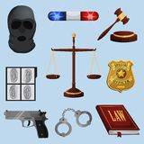 Law and justice icons set. Law legal justice judge and legislation icons set with scales court gavel isolated vector illustration Stock Images
