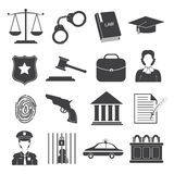 Law and Justice Icons Set Stock Image