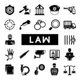 Law and justice icons. Set of 22 law and justice icons on white background Royalty Free Stock Photos