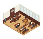 Law Justice Isometric Composition Icon. Law justice criminal trial courtroom proceedings isometric composition icon with judge bench defendant attorneys audience Stock Photography