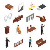 Law Justice Isometric Icons Set. Law justice symbols isometric icons collection with bible handcuffs criminal defendant and prosecuting attorney isolated vector Royalty Free Stock Image