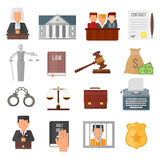 Law justice legal court lawyer judgment judge gavel symbol vector. Stock Photography