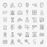 Law and Justice Line Art Design Icons Big Set Royalty Free Stock Photo