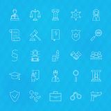 Law and Justice Line Icons Set over Polygonal Background Stock Images