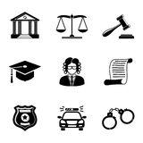 Law, justice monochrome icons set Royalty Free Stock Photo