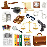 Law Justice Objects And Symbols Collection Stock Photos