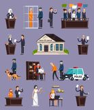 Law And Justice Orthogonal Icons Set. With courthouse, defendant, police, jury on lilac background isolated vector illustration Royalty Free Stock Images