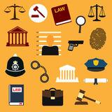 Law, justice and police flat icons. Set. Lawbook, prisoner photo, handcuff gun fingerprint, policeman peaked caps court building magnifier gavel, scales, paper Stock Photos