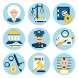 Law justice police icons Stock Images