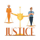 Law Justice Retro Cartoon Composition Poster Stock Image