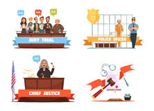 Law Justice 4 Retro Cartoon Icons Royalty Free Stock Photo