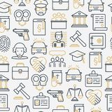 Law and justice seamless pattern. With thin line icons: judge, policeman, lawyer, fingerprint, jury, agreement, witness, scales. Vector illustration for banner Stock Photo