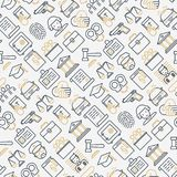Law and justice seamless pattern. With thin line icons: judge, policeman, lawyer, fingerprint, jury, agreement, witness, scales. Vector illustration for banner Royalty Free Stock Image