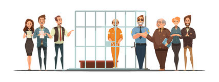 Law Justice Sentence  Retro Cartoon POster Stock Photo