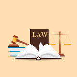 Law and justice set icon. Law and justice set icon, Scales of justice, gavel and books in flat style, Conceptual justice and law Vector illustration Stock Photography