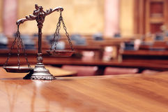 Law and Justice. Symbol of law and justice in the empty courtroom, law and justice concept