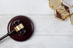Law justice symbols concept top view Stock Images