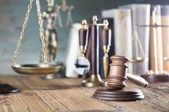 Law. And justice theme, gavel and scale royalty free stock images