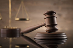 Law. And justice theme, gavel and scale Stock Images