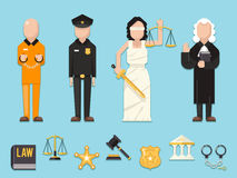 Law justice Themis Femida scales sword police judge prisoner characters icons symbols set flat icon vector illustration Stock Photos