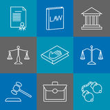 Law and justice thin line icons. Juridical  legal linear signs. Law and justice thin line icons. Juridical and legal linear signs. Authority legislation, gavel Stock Photography
