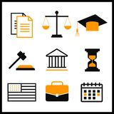 Law and justice thin line  icons. The legal system, judge, police.  Stock Photo