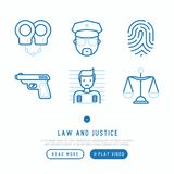 Law and justice thin line icons set. Policeman, fingerprint, handcuffs, criminal, scales, gun. Modern vector illustration Royalty Free Stock Photos