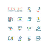 Law and Justice - Thin Line Icons Set Royalty Free Stock Images