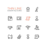Law and Justice - Thin Line Icons Set Stock Photography